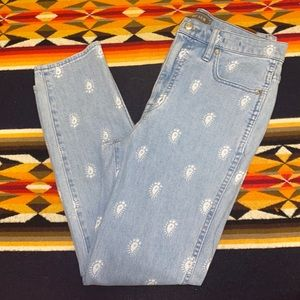 Point during j crew high rise straight jeans